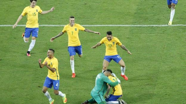 Brazil's Soccer Team Gold Medal Moment