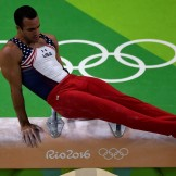 An overview shows US gymnast Danell Leyva competes in the qualifying for the men's pommel horse event of the Artistic Gymnastics at the Olympic Arena during the Rio 2016 Olympic Games in Rio de Janeiro on August 6, 2016. / AFP / Antonin THUILLIER (Photo credit should read ANTONIN THUILLIER/AFP/Getty Images)