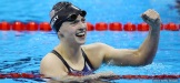 Katie Ledecky wins gold in the women's 200 meter freestyle in Rio 2016.