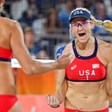 Kerri Walsh Jennings & April Ross on their way to victory in women's beach volleyball in Rio 2016.