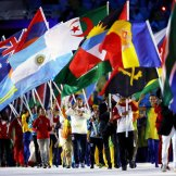 Flag bearers leading the closing ceremony in Rio 2016.