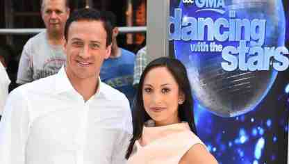 Ryan Lochte & Cheryl Burke at GMA reveal of season 23 cast of Dancing With The Stars.