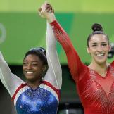 Simone Biles and Aly Raisman win gold and silver in women's all-around Rio 2016.