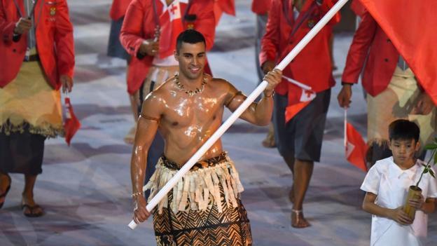 Tonga's flag-bearer Pita Taufatofua Opening Ceremony