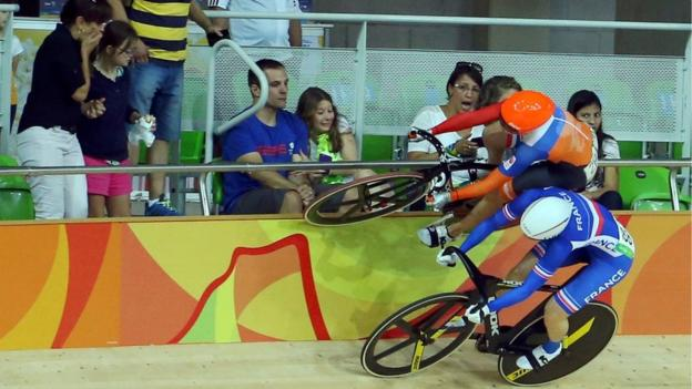 Track Cyclists avoid a nasty crash