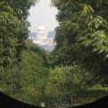 The view through the telescope on King Henry's Mount, Richmond Park, London, U.K.