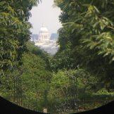 The view through the telescope on King Henry's Mount, Richmond Park, London, U.K.